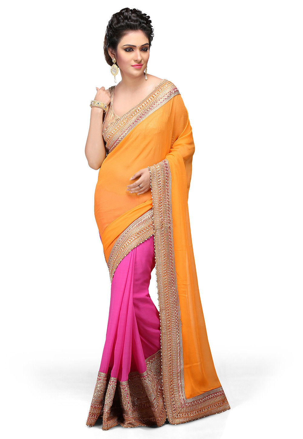 Half N Half Georgette Saree in Yellow and Fuchsia