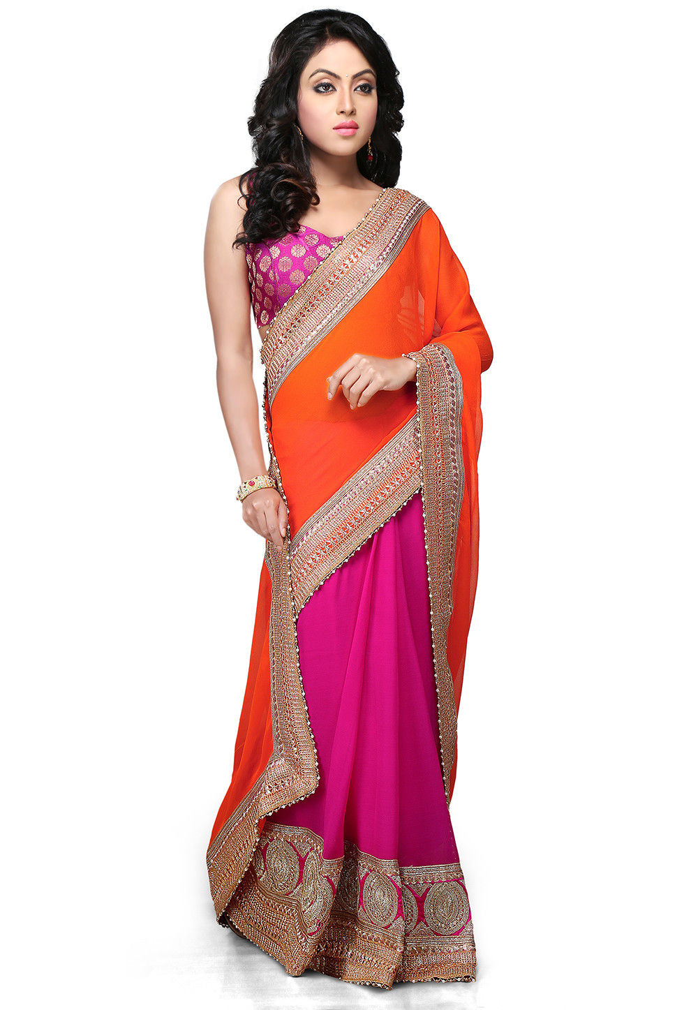 Half N Half Georgette Saree in Orange and Fuchsia