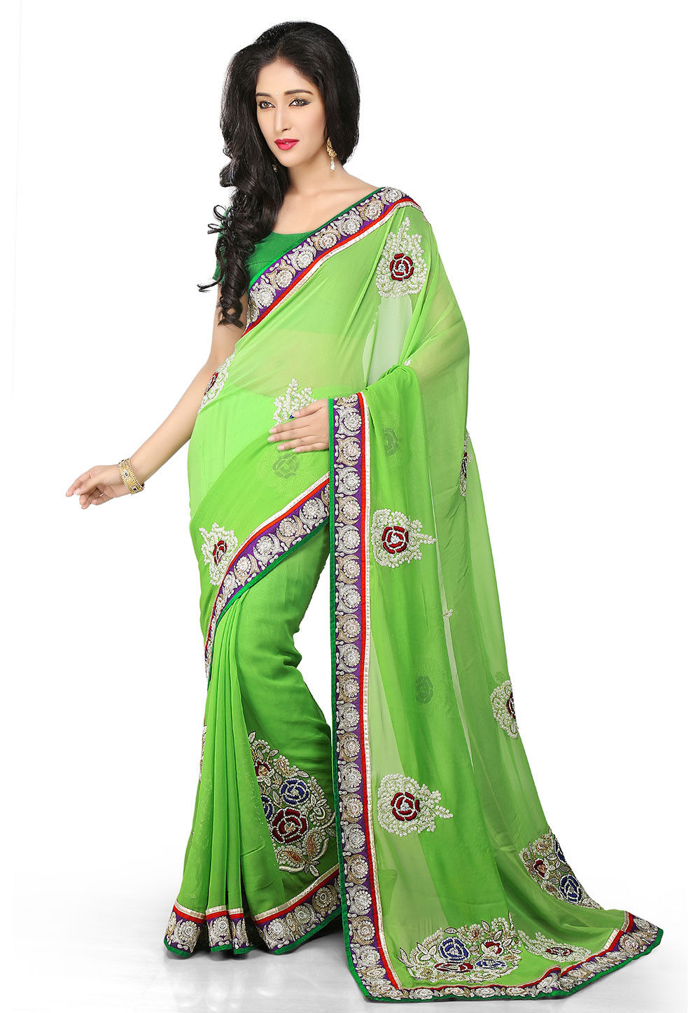 Embroidered Georgette Saree in Green Ombre