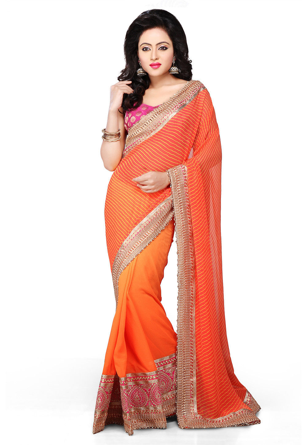 Half N Half Georgette Saree in Orange