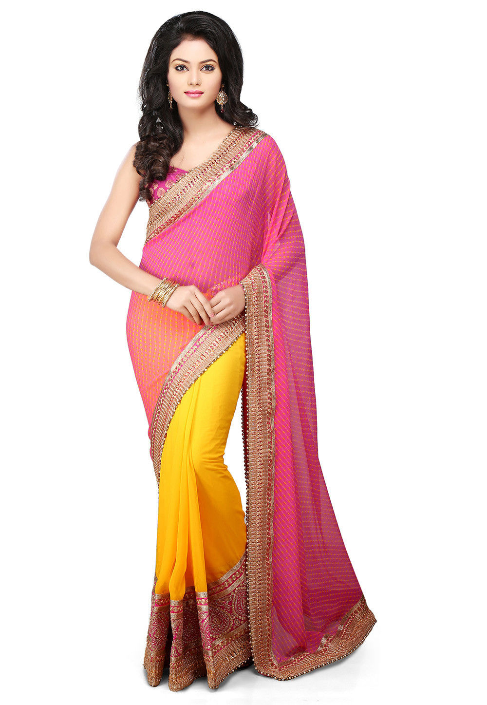Half N Half Georgette Saree in Pink and Yellow : SJN6003
