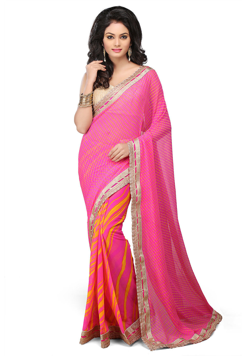 Half N Half Georgette Saree in Fuchsia