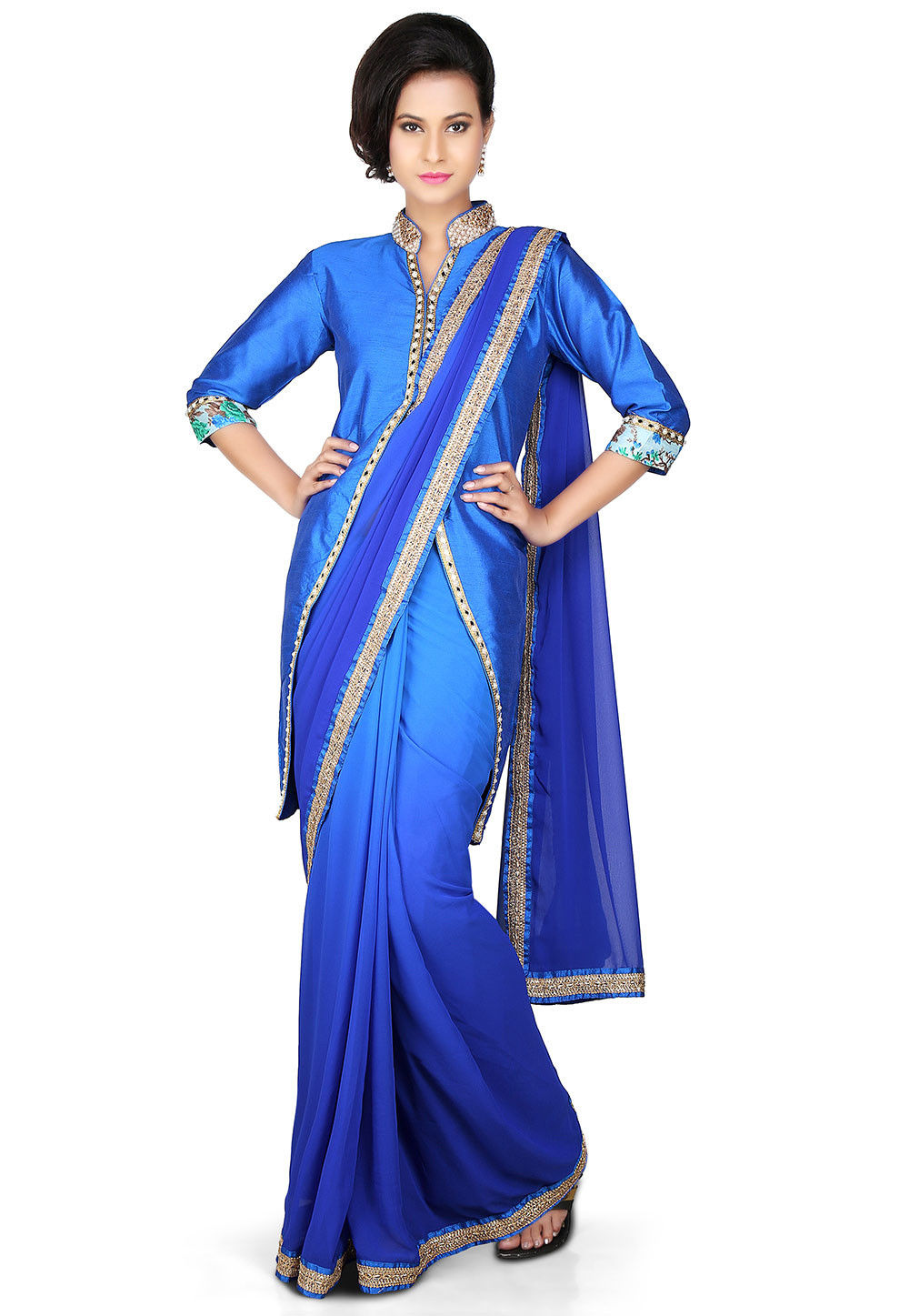 Patch Border Georgette Saree in Ombre Blue
