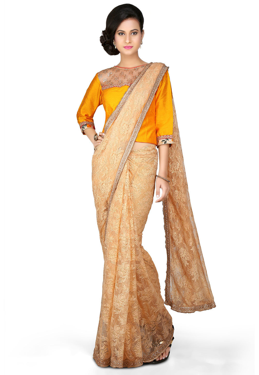 Gota Lace Border Chantelle Saree in Beige