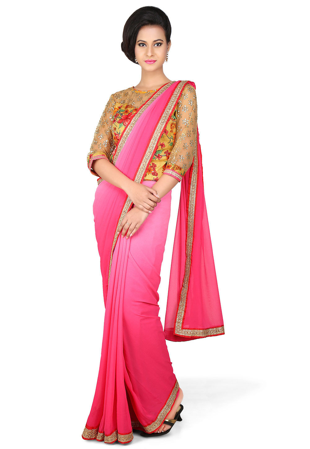 Patch Border Georgette Saree in Ombre Pink