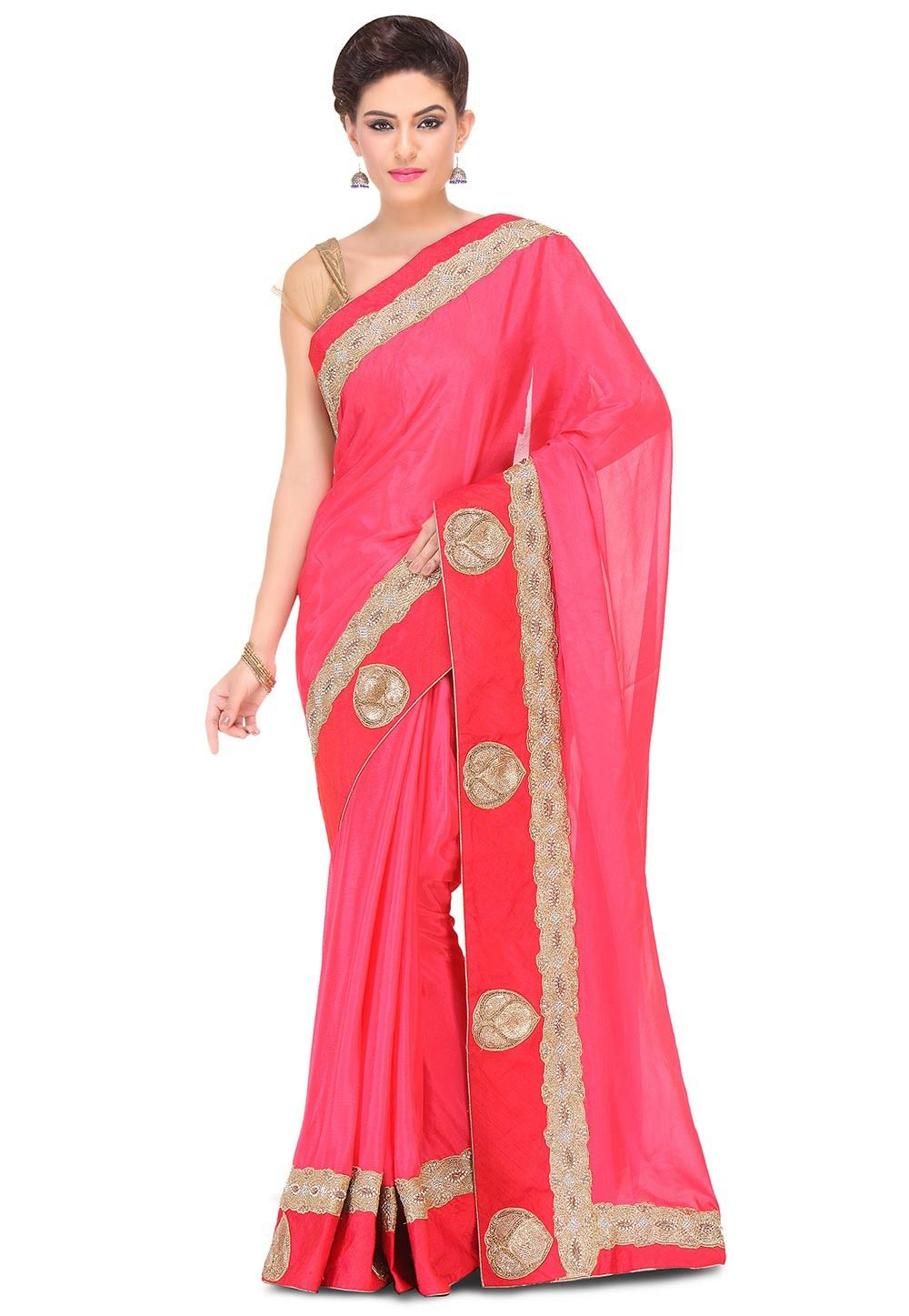 Hand Embroidered Crepe Chiffon Saree in Fuchsia