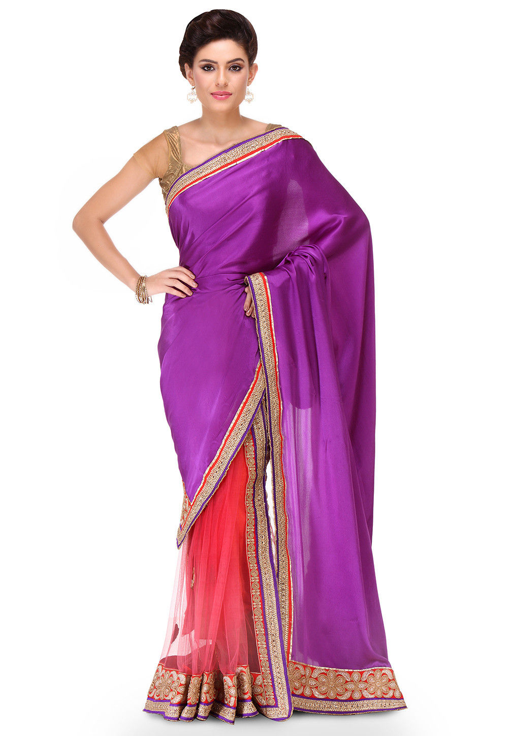 Two Part Crepe Chiffon Saree in Purple and Pink