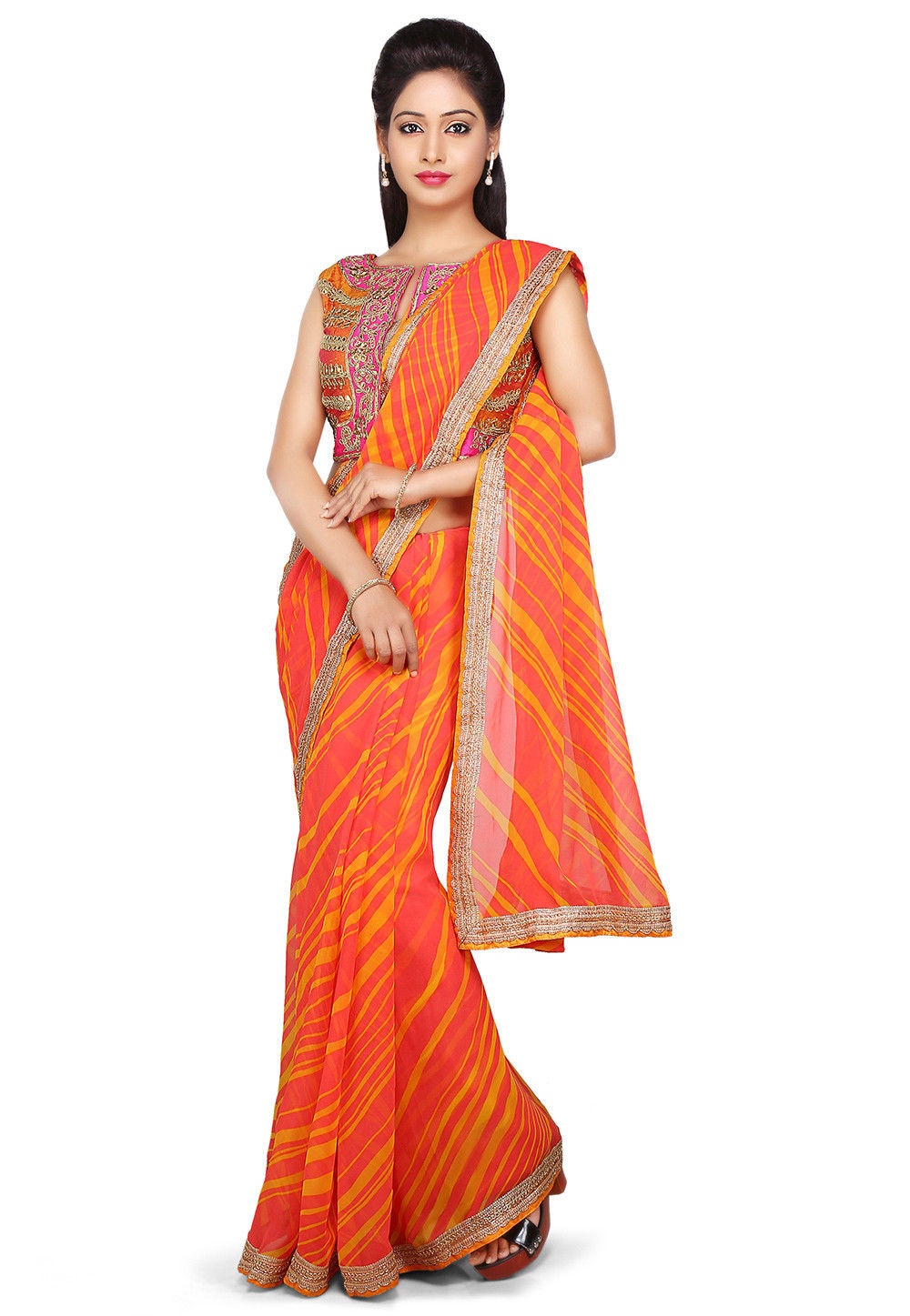 Lehariya Printed Georgette Saree in Pink and Mustard