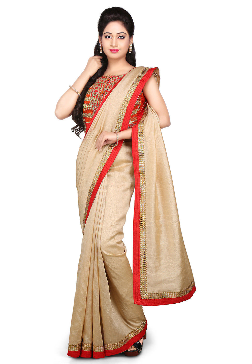Patch Border Bhagalpuri Silk Saree in Beige