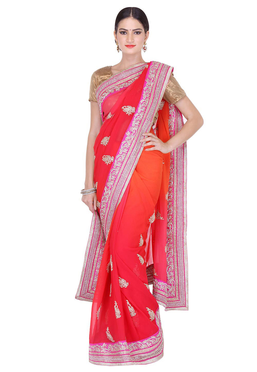 Hand Embroidered Pure Georgette Saree in Red