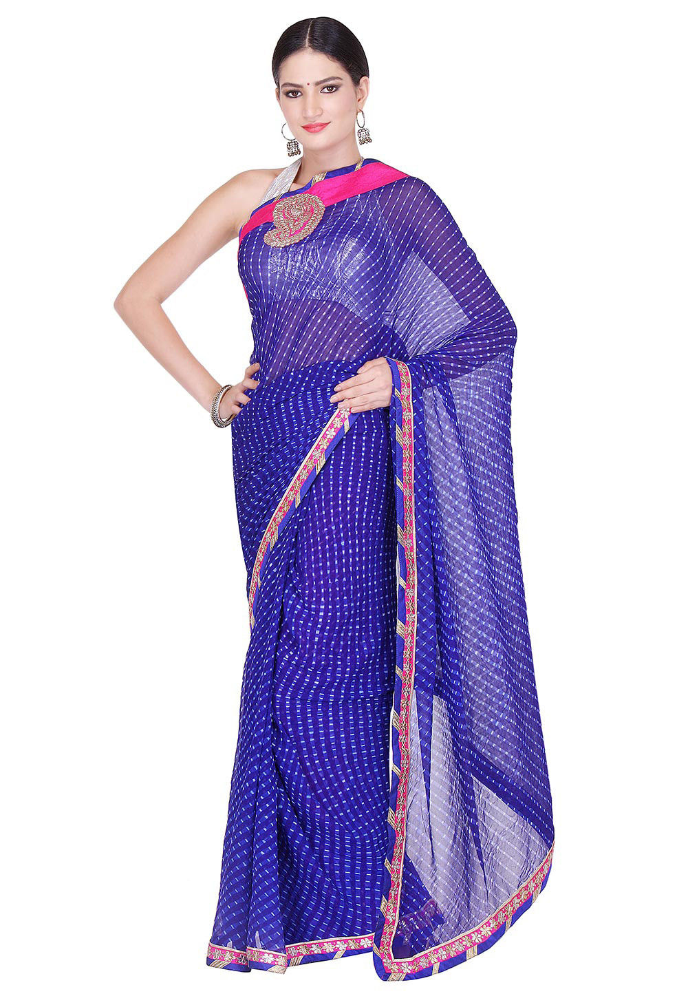 Printed Pure Georgette Saree in Blue
