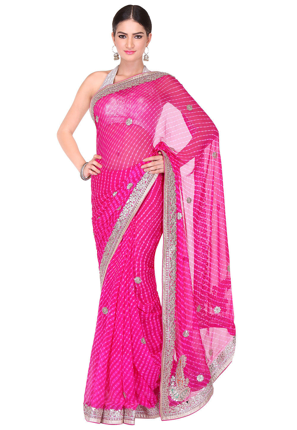 Embroidered Border Georgette Lehariya Saree in Pink
