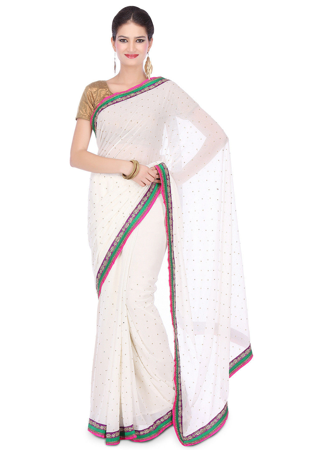 Hand Embroidered Chiffon Saree in Off White