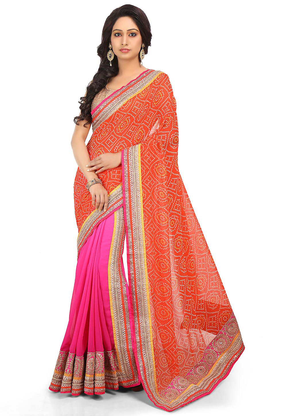 Two Part Georgette Saree in Orange and Ombre Pink