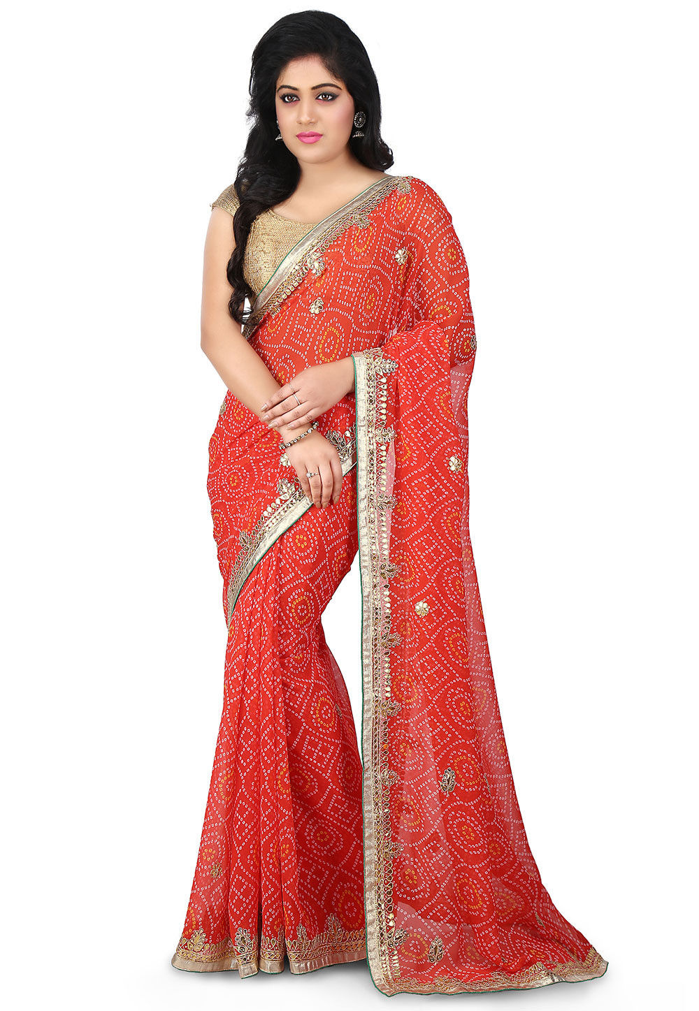 Bandhej Georgette Saree in Coral Red