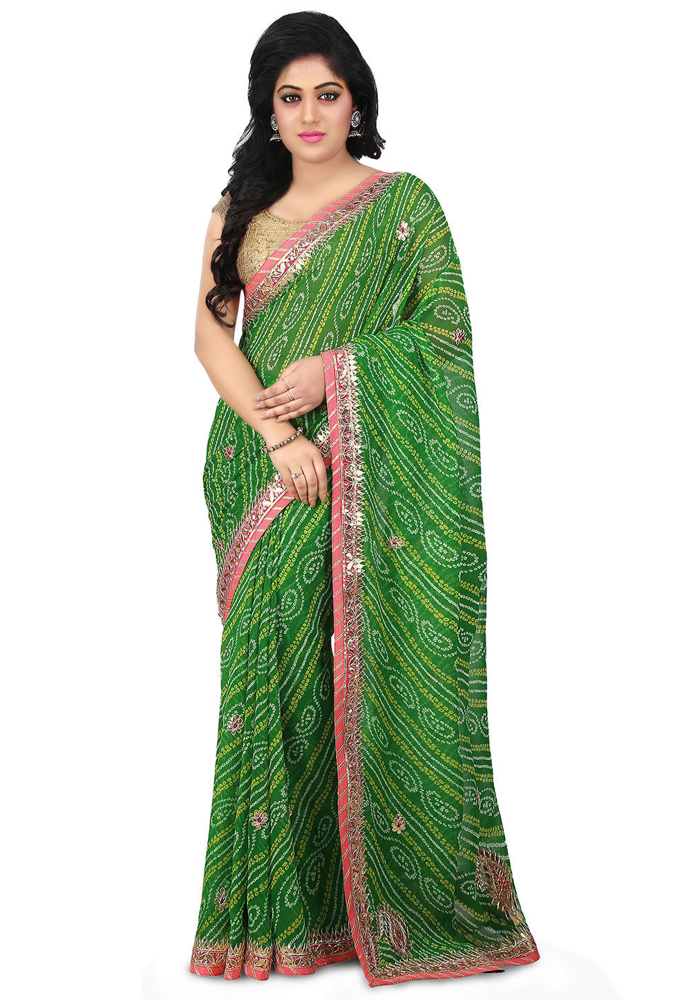 Bandhej Georgette Saree in Green