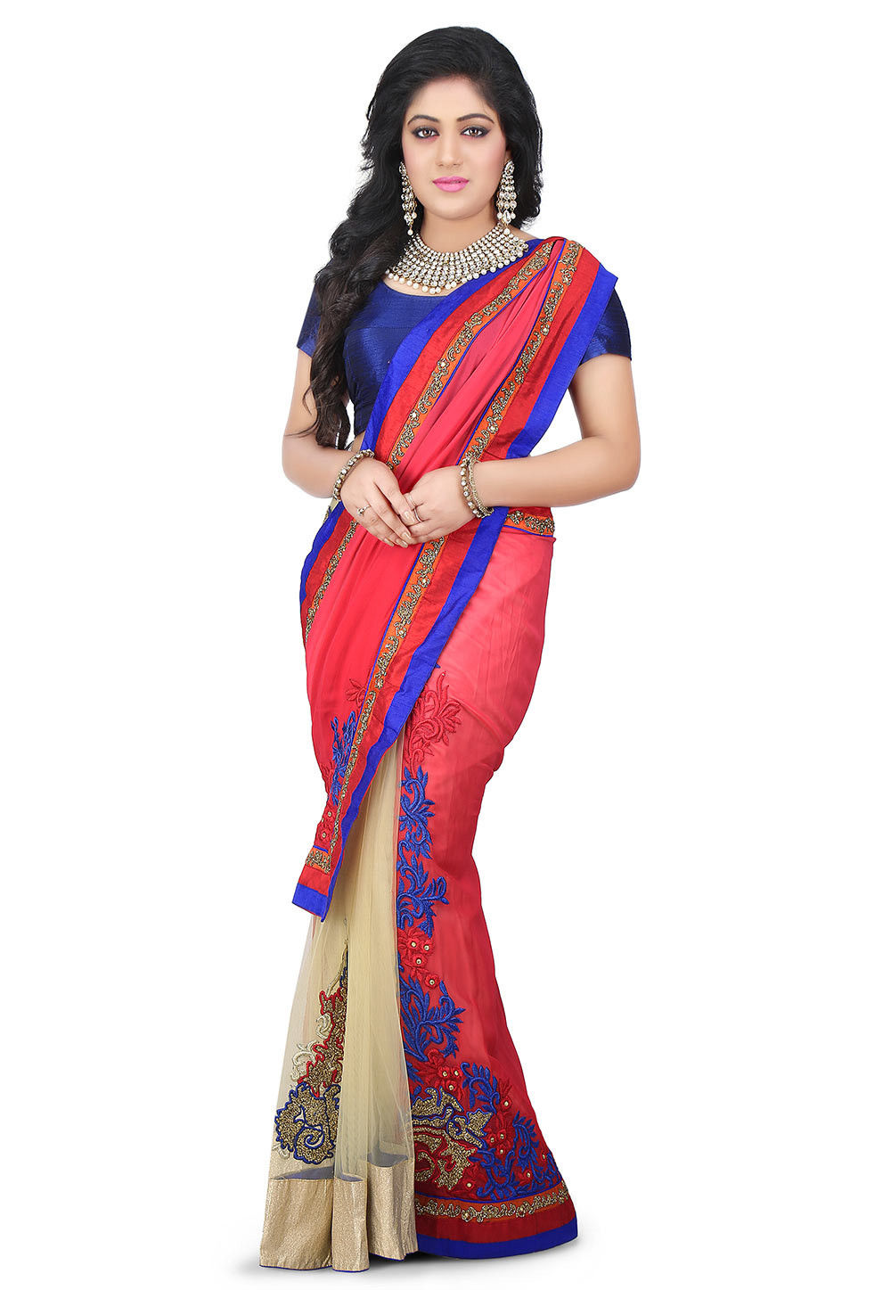 Half N Half Georgette and Net Saree in Red and Beige