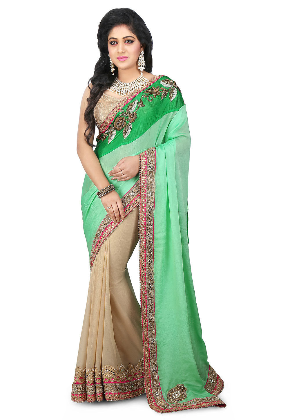 Half N Half Chinon Crepe and Chiffon Shimmer Saree in Pastel Green and Beige