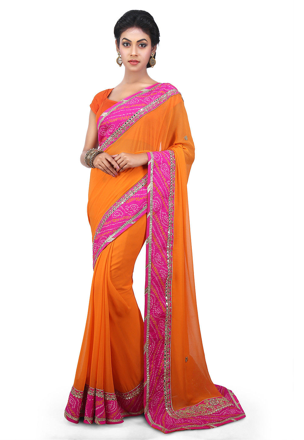 Contrast Patch Border Faux Georgette Saree in Orange