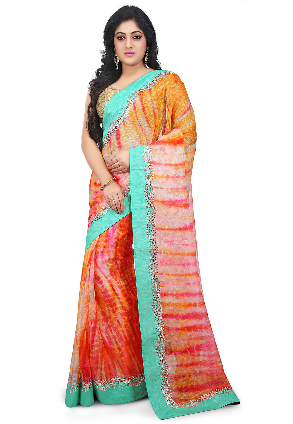 Pure Tie Dyed Kota Silk Saree in Multicolor