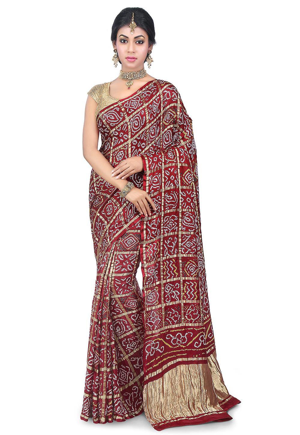 Pure Ghatchola Satin Silk Saree in Maroon
