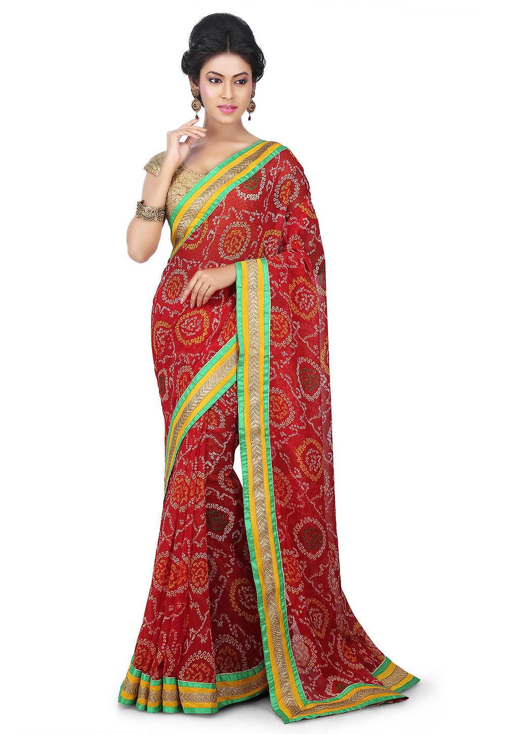 Bandhej Printed Georgette Saree in Red