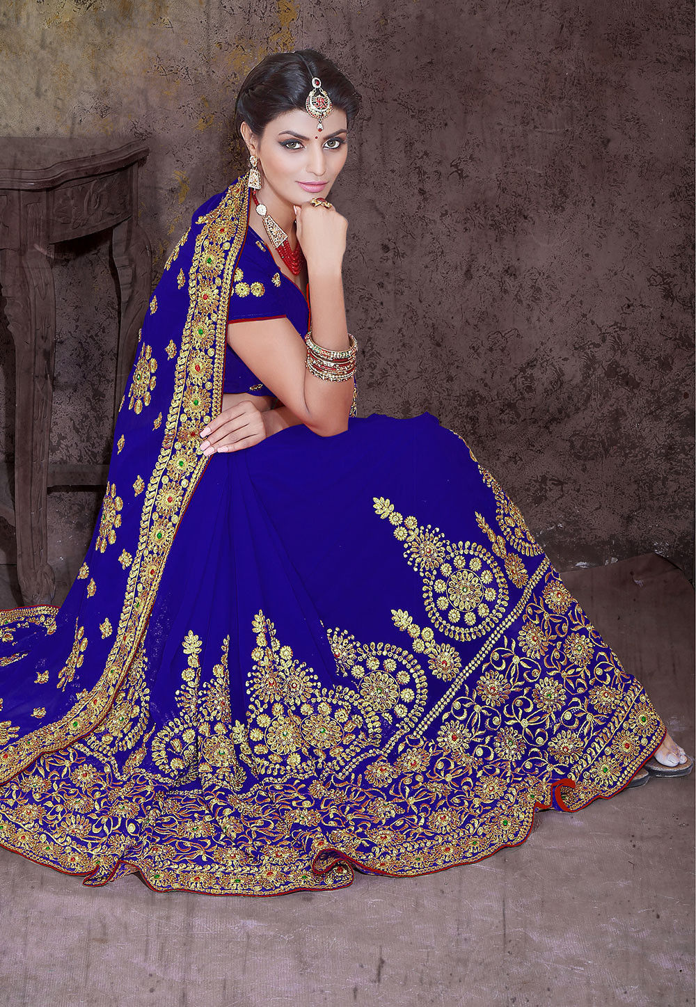 Embroidered Georgette Saree in Royal Blue