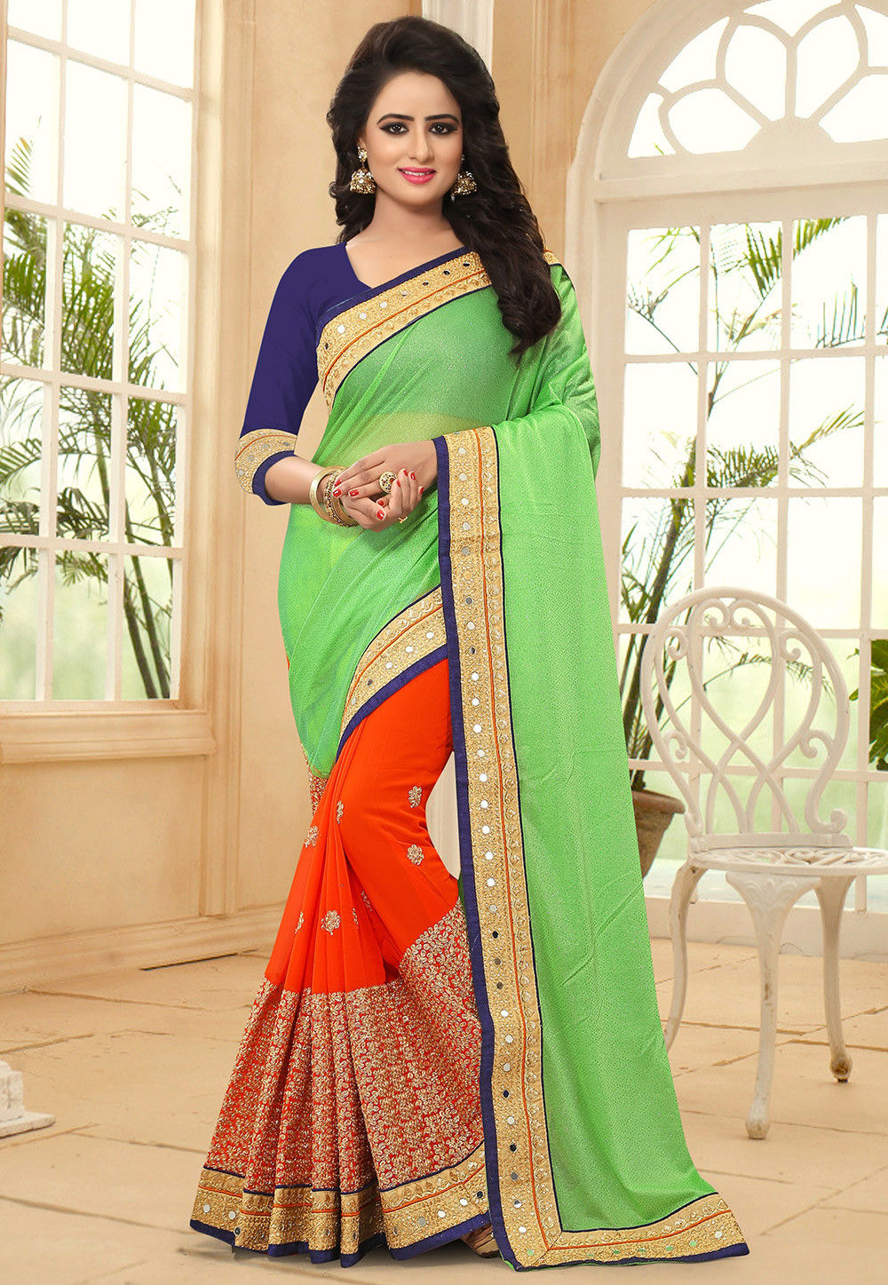 Half N Half Lycra and Georgette Saree in Light Green and Orange