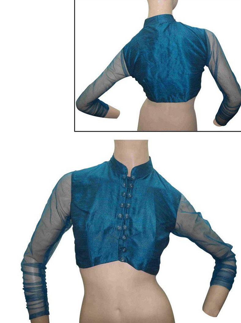 Art Silk Blouse in Teal Blue