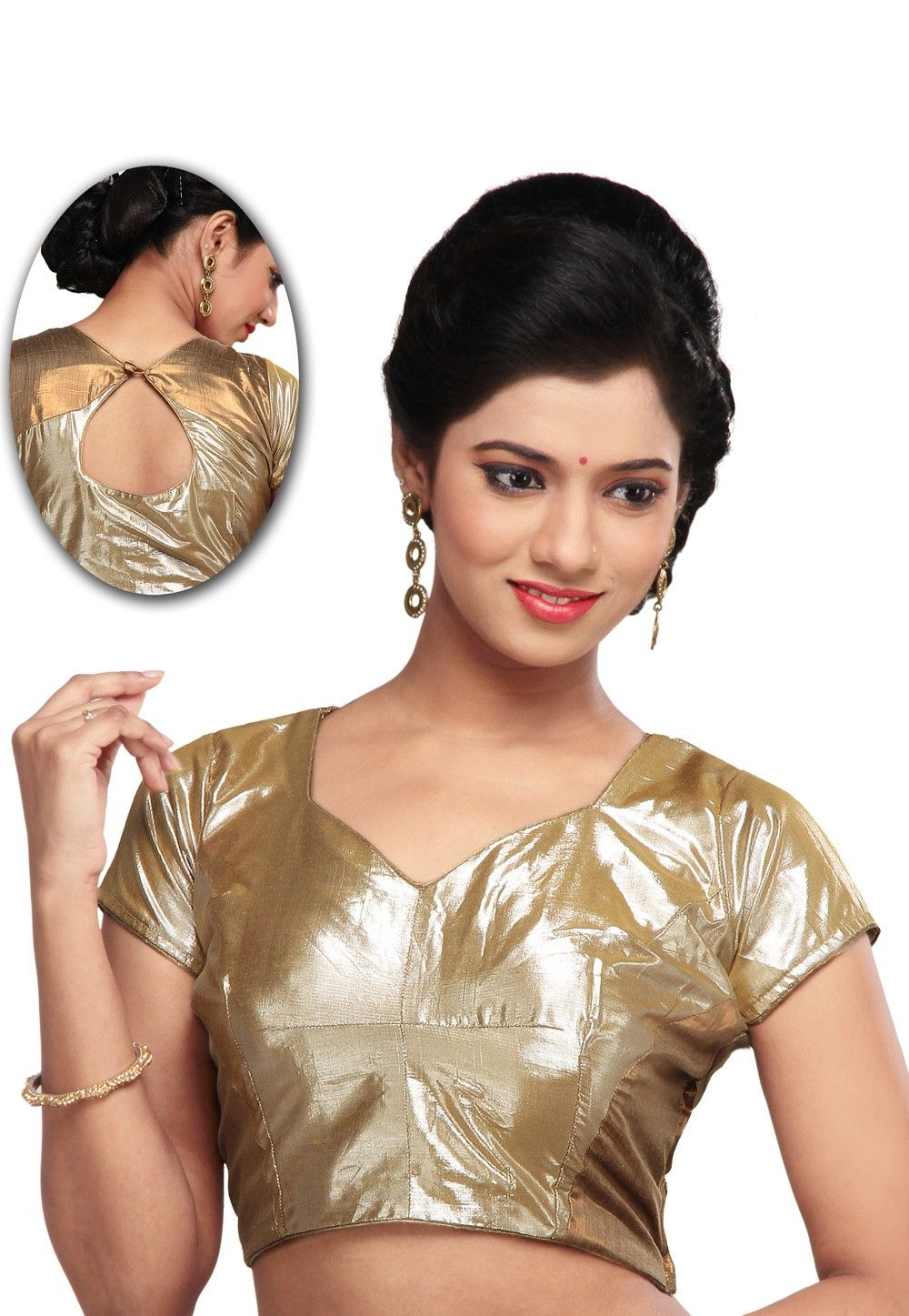 Cotton shimmer Blouse in Golden
