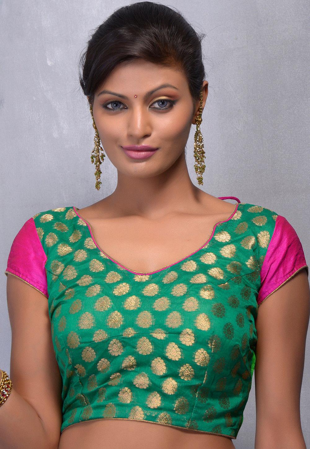 Woven Chanderi Art Silk Blouse in Green