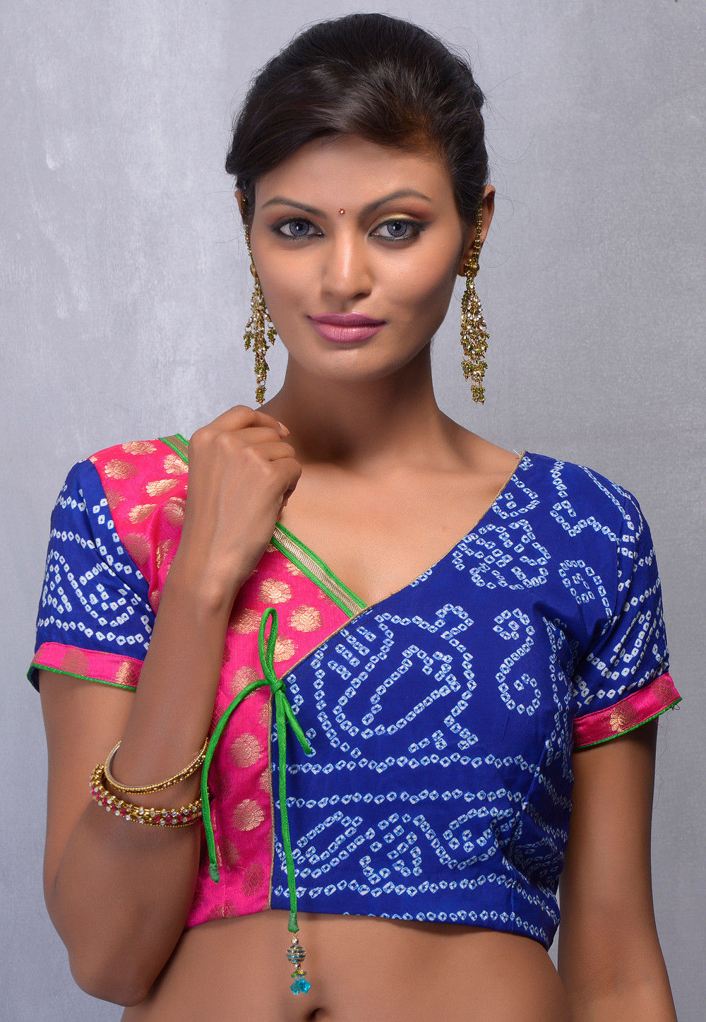 Blue and Rani Pink Chanderi Art Silk and Pure Crepe Readymade Blouse