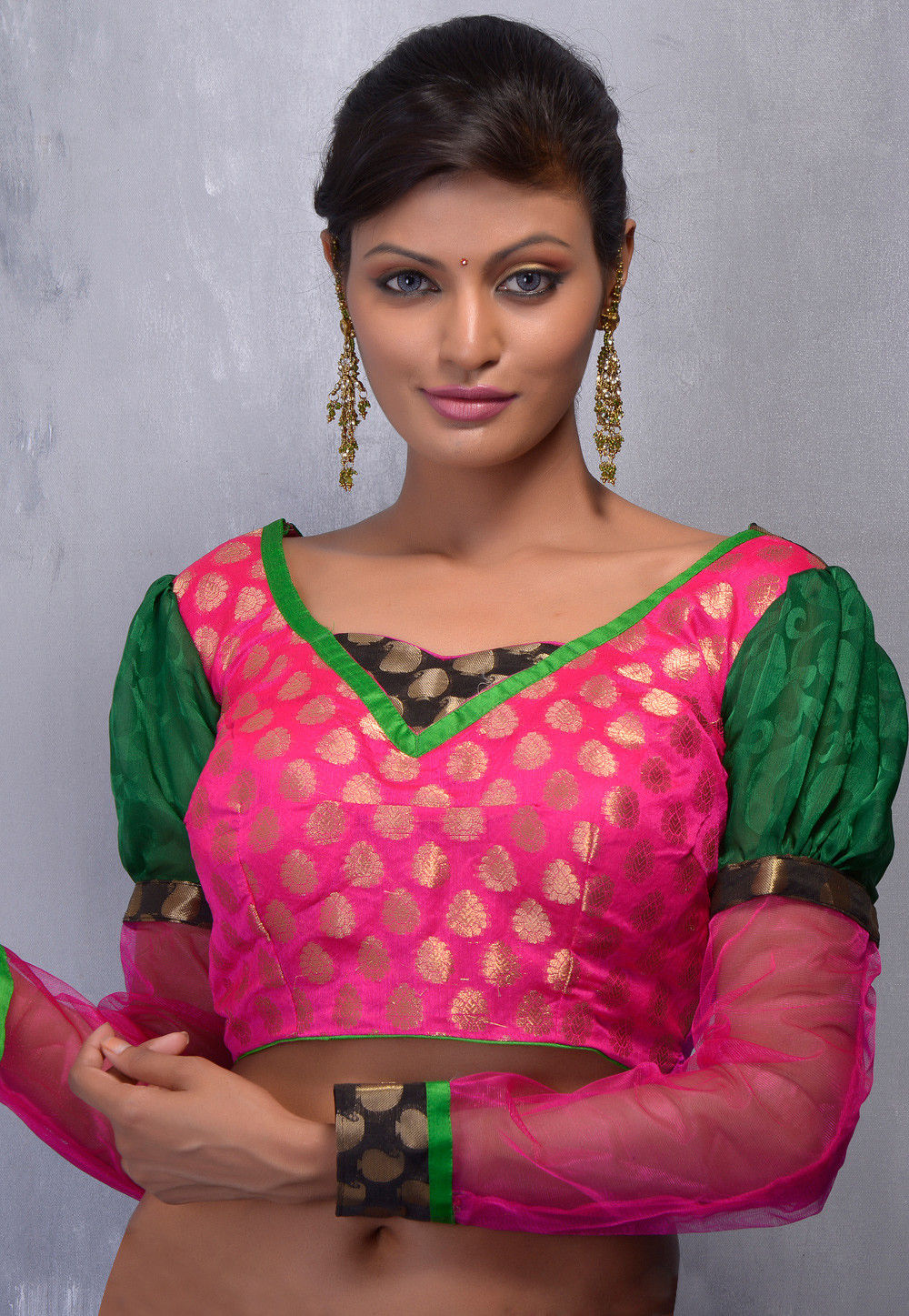 Chanderi Art Silk Blouse in Fuchsia and Green