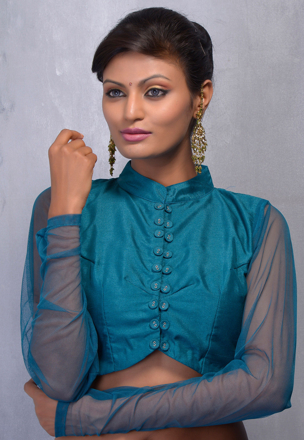 Dupion Art Silk Blouse in Teal Blue