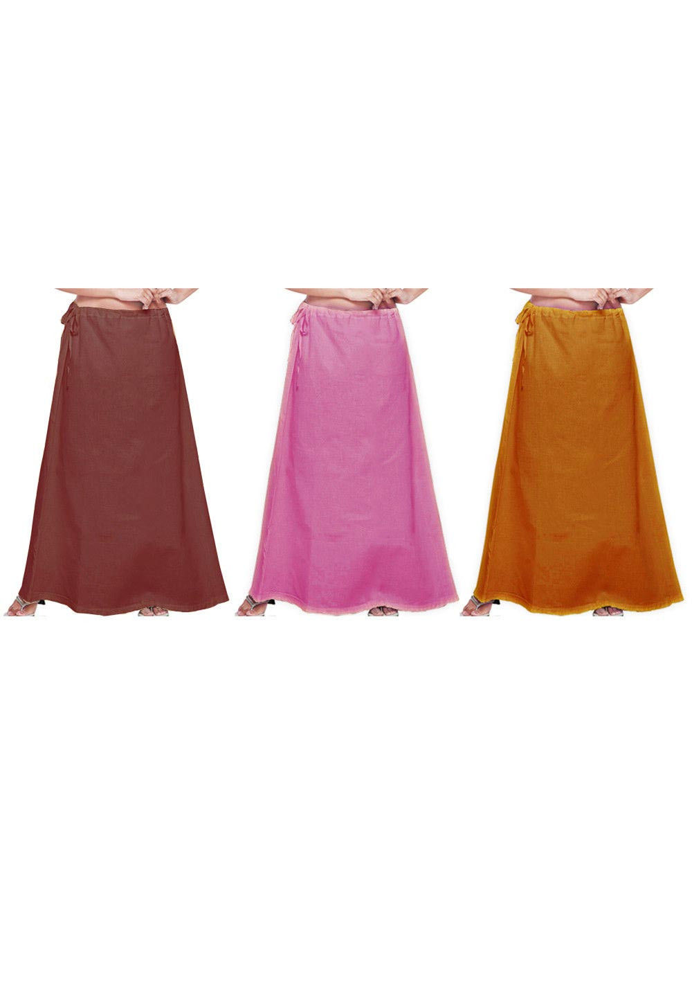 Combo Set Cotton Petticoat in Brown, Pink and Mustard