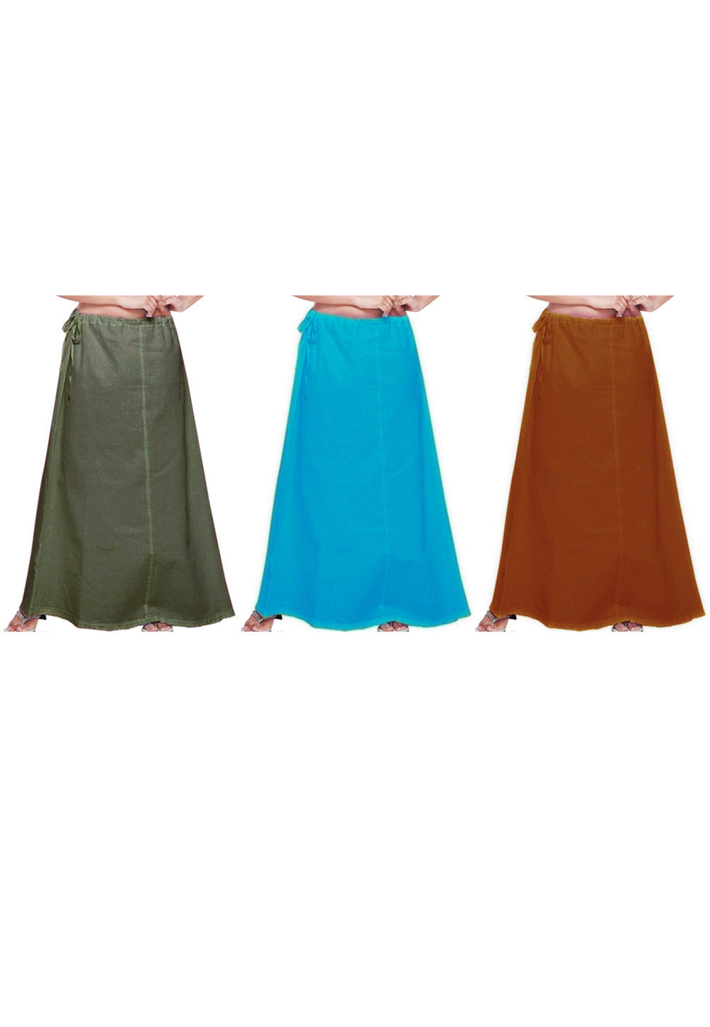 Combo Set Cotton Petticoat in Olive Green, Turquoise and Rust