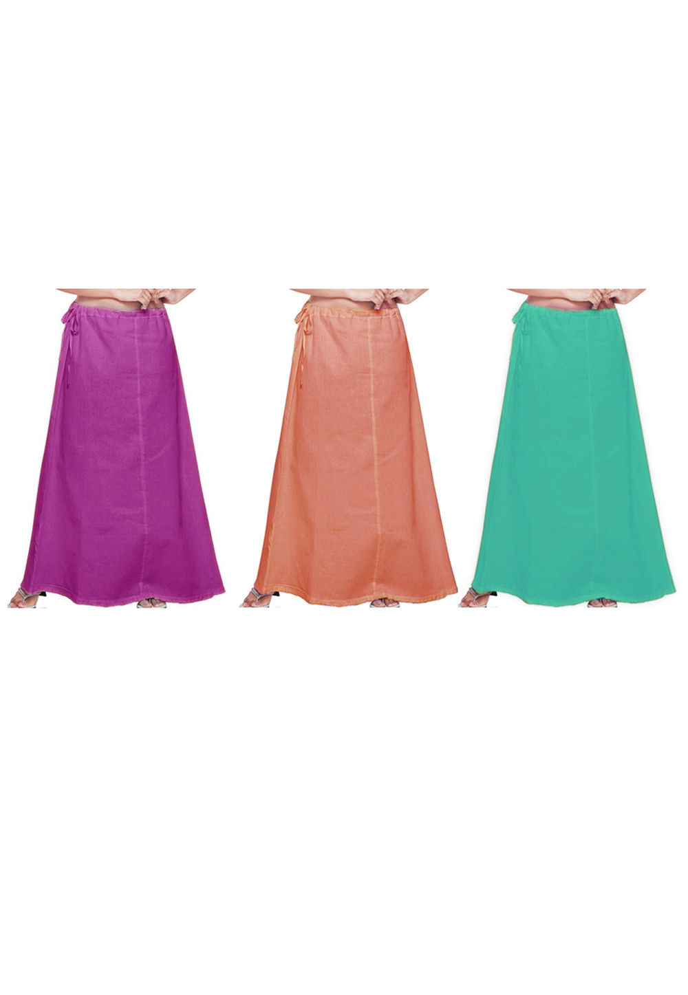 Combo Set Cotton Petticoat in Magenta, Peach and Green