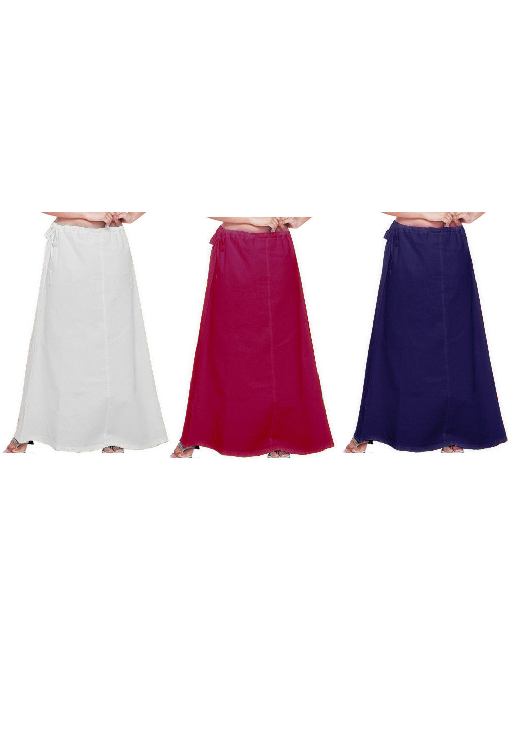 Combo Set Cotton Petticoat in White, Magenta and Navy Blue
