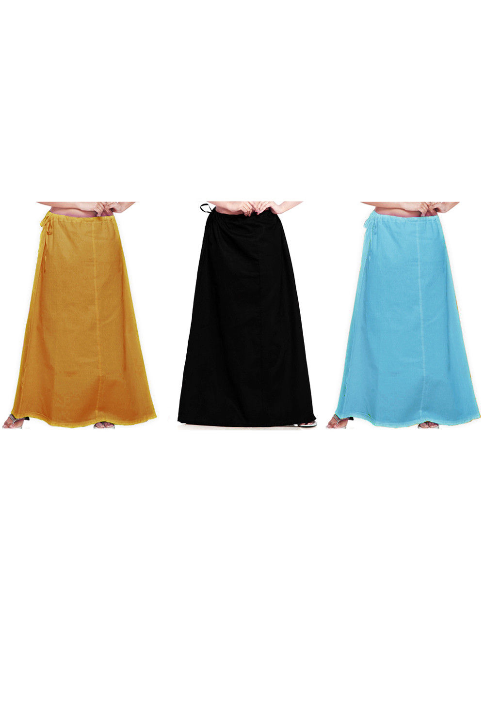 Combo Set Cotton Petticoat in Mustard, Black and Sky Blue
