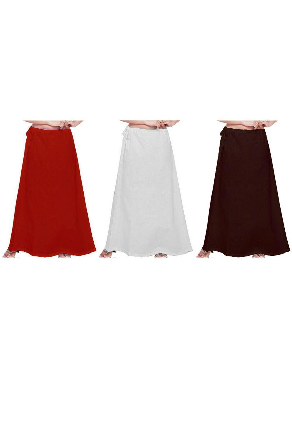 Combo Set Cotton Petticoat in Red, White and Brown