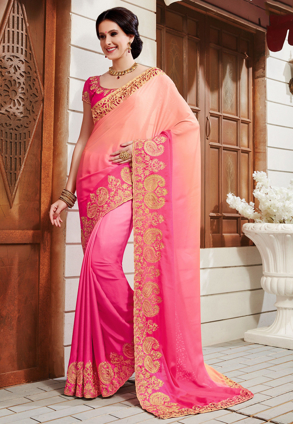Ombre Satin Georgette Saree in Shaded Peach and Pink