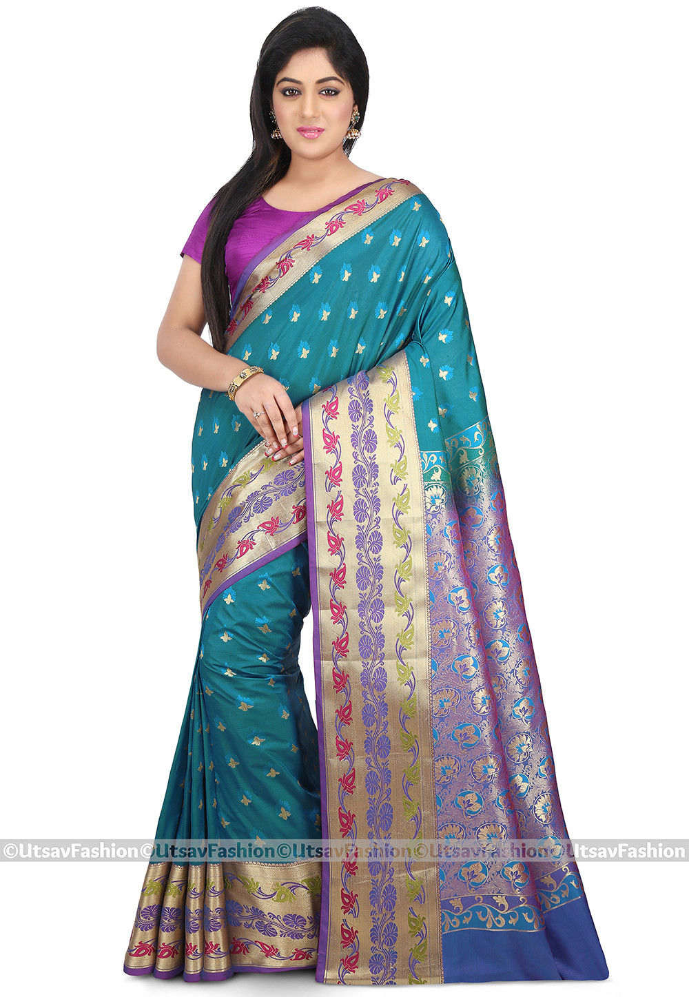 Kanchipuram Saree in Teal Blue