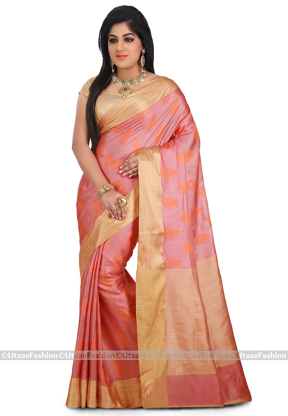 Woven Pure Tussar Silk Saree in Dark Peach
