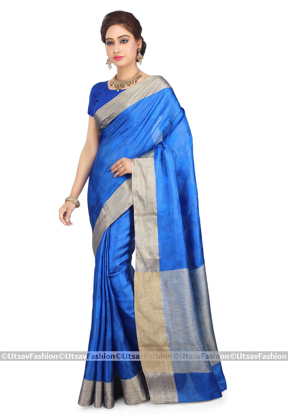 Woven Pure Tussar Silk Saree in Blue
