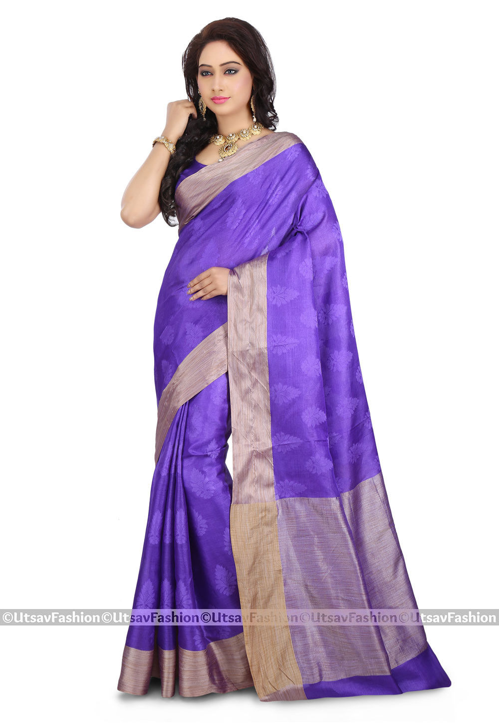 Woven Pure Tussar Silk Saree in Purple