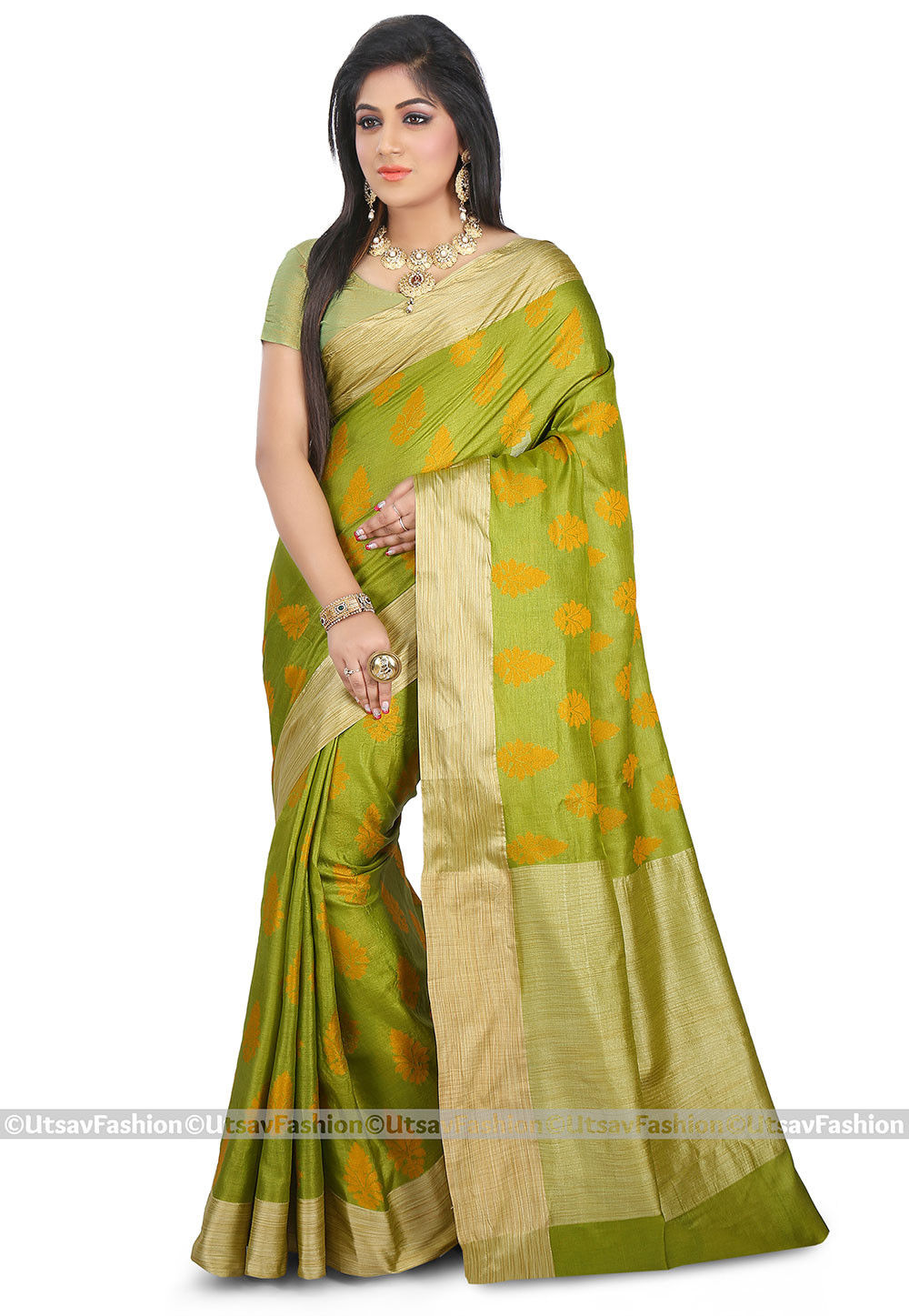 Woven Pure Tussar Silk Saree in Light Olive Green