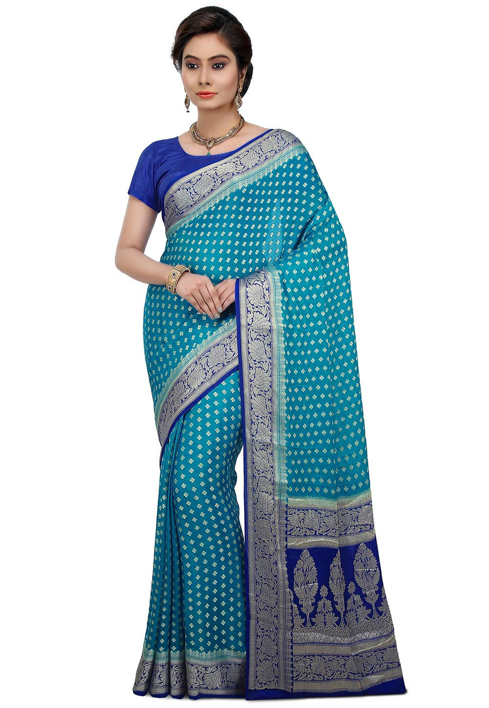 Pure Banarasi Silk Saree in Sky Blue