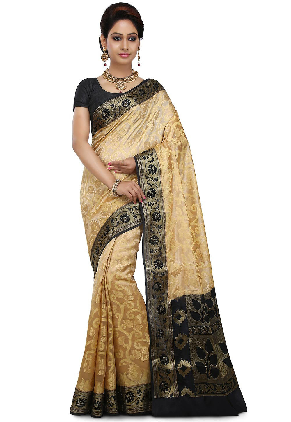 Pure Banarasi Silk Saree in Beige