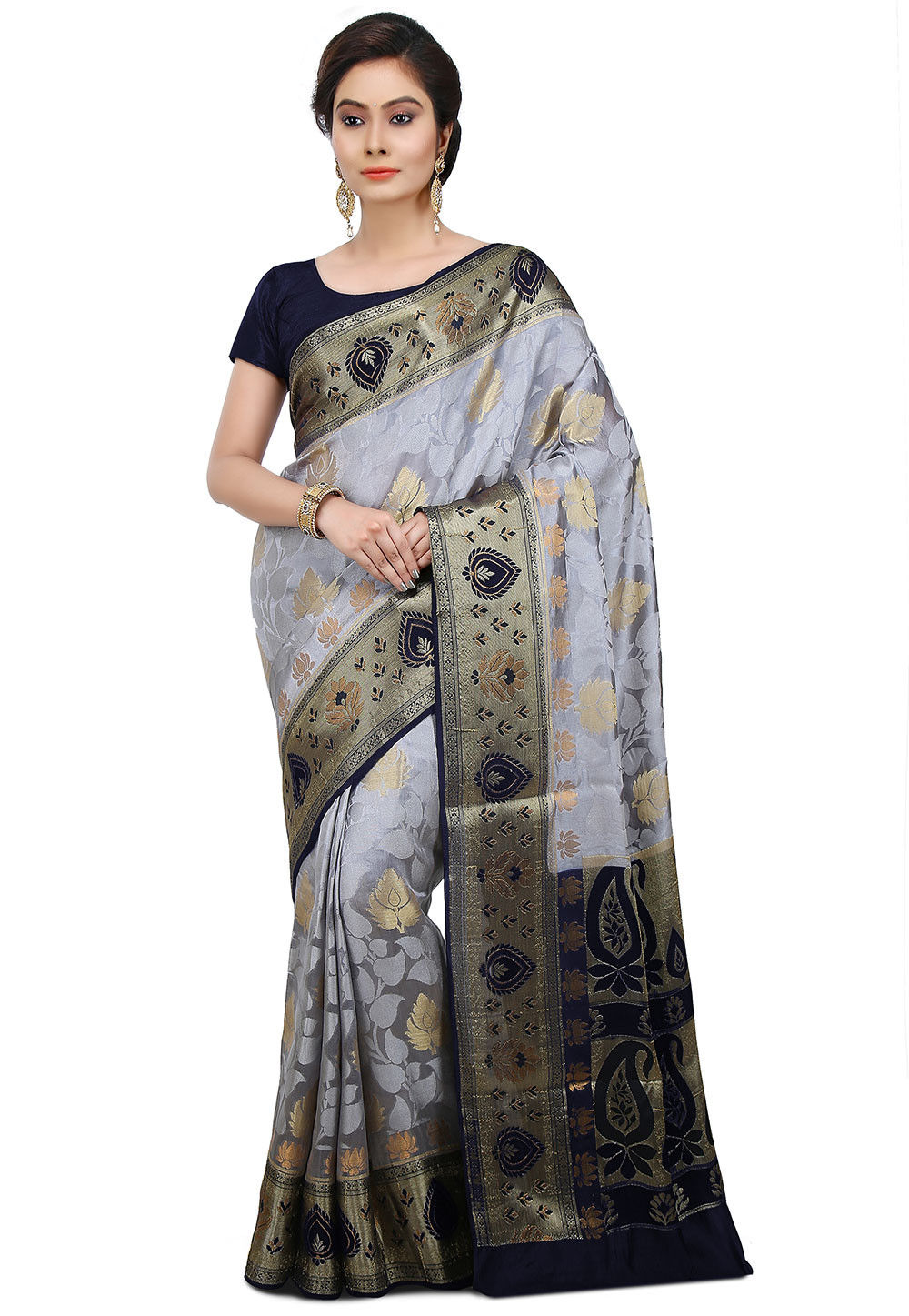 Pure Banarasi Silk Saree in Grey and Navy Blue