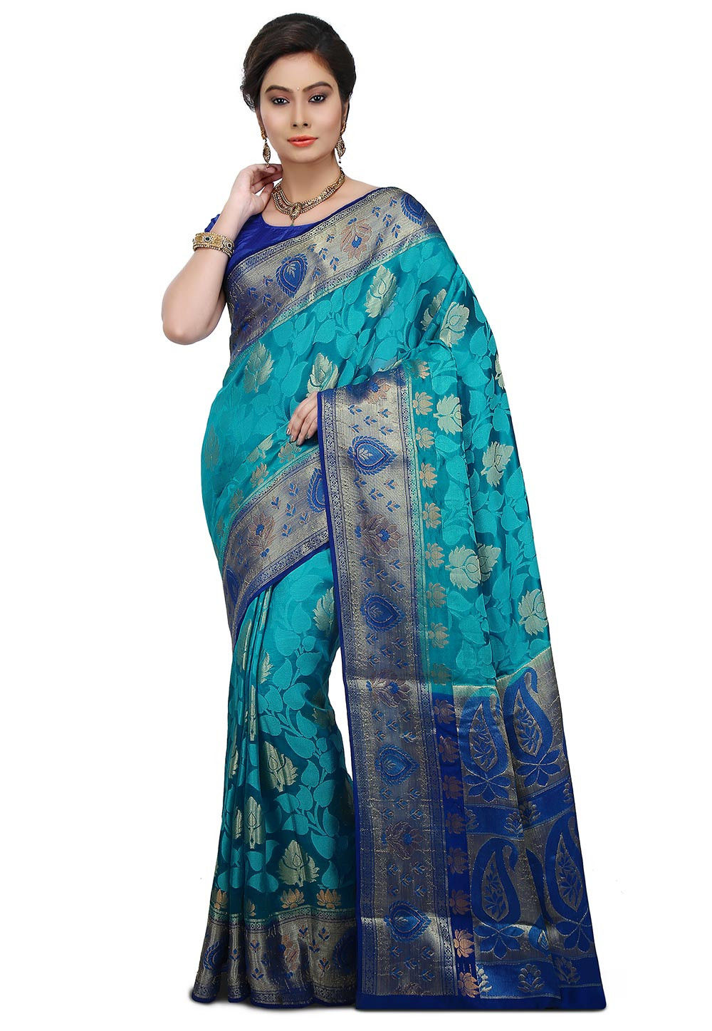 Pure Banarasi Silk Saree in Teal Blue